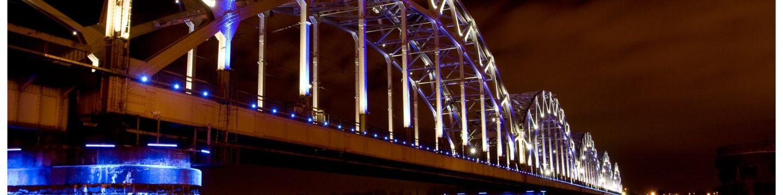 Stockholm rail bridge at night