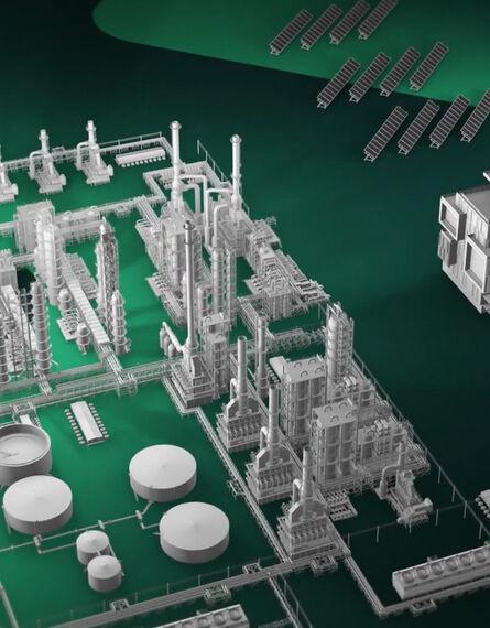 Brand video screenshot - Energy assets against a green chevron background