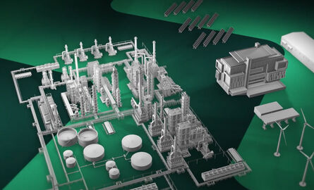 Brand video screenshot - Energy assets against a green chevron background