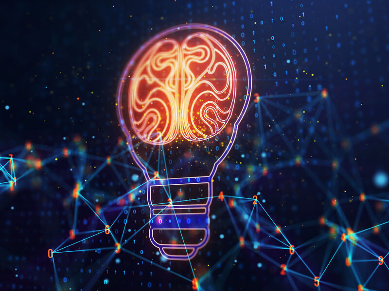 Light bulb symbol with brain, idea and solution concept. 3D Rendering