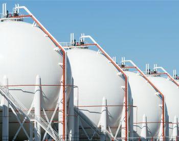 LPG gas storage sphere tanks with blue sky background