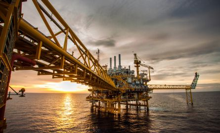 Oil and gas platform during sunrise or sunset