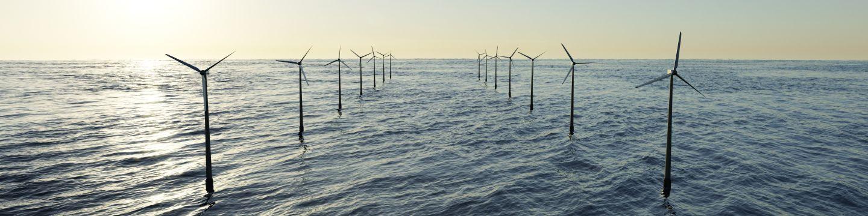Offshore wind farm in the sea - stock photo